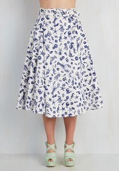 What a Catch! Skirt - White, Print with Animals, Novelty Print, Belted, Party, Casual, Beach/Resort, Nautical, 50s, Critters, High Waist, Full, Summer, Woven, Best, White, Cotton, Long, Vintage Inspired