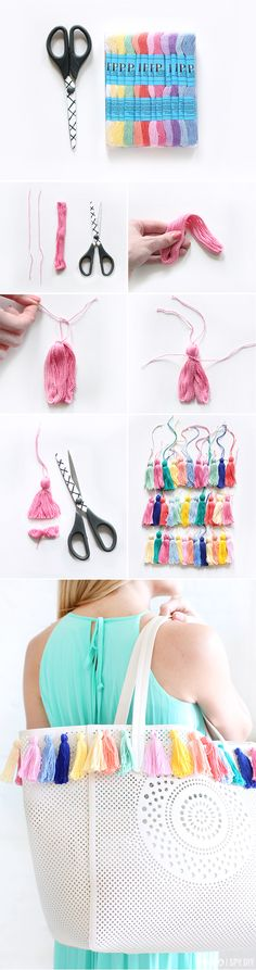 Diy Crafts Ideas : DIY Tassel Bag Source by cksuperteen diy Diy Tassel, Tassels, Beach Bag Tutorials, Sewing Projects, Craft Projects, I Spy Diy, Ideias Diy, Diy Couture, Diy Accessories