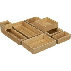 Bamboo Drawer Organizers in Office Accessories | Crate and Barrel
