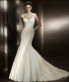 Lace Sweetheart Silhouette with Cap Sleeves Mermaid in Chapel Train Elegant Designer New 2011 Bridal Gown WD-0547 [Wedding-Dresses-674] - US$248.00 : edresst.com