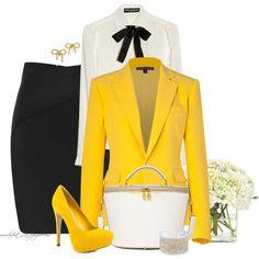 """* Sunshine Yellow & Black *"" by hrfost1210 on Polyvore"