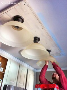 Kitchen Lighting Remodel Second Wind of Texas: Making Lights to Replace Ugly Fluorescent Kitchen Lighting Design, Kitchen Lighting Fixtures, Home Lighting, Lighting Ideas, Ceiling Lighting, Light Fixtures, Club Lighting, Ceiling Ideas, Interior Lighting