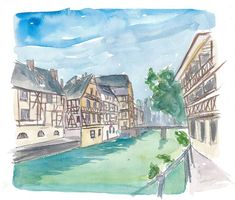 """Saatchi Art is pleased to offer the painting, """"Strasbourg Petite France Water View and Old Houses,"""" by M Bleichner, available for purchase at $249 USD. Original Painting: Watercolor on Paper. Size is 7.9 H x 11.8 W x 0.4 in. River Painting, House Painting, Watercolor Sunset, Watercolor Paintings, Original Paintings For Sale, Original Artwork, Retro Poster, Impressionism Art, Cool Artwork"""