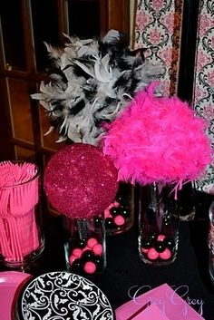 Hot Pink, Black, White, and Sparkles