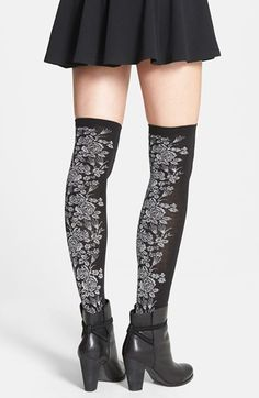 Nordstrom+Rose+Pattern+Over+the+Knee+Socks+(3+for+$36)+available+at+#Nordstrom