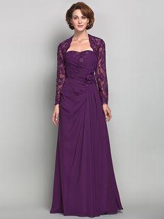 Sheath/Column Plus Sizes / Petite Mother of the Bride Dress - Grape Floor-length Long Sleeve Chiffon / Lace - USD $139.99