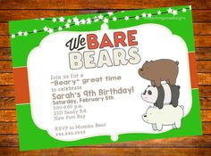 This is a 5X7in digital image of a birthday invitation for a We Bare Bears Cartoon Network themed event custom made with your party details. One proof is sent out with options to make one change including size. If you want a 4X6, 6X9, or any other size, let me know. You can print as many as you like using your home computer or send to a photo lab!   How to order: Place the order and include details of party in the notes section. Guaranteed to receive a proof within 1-2 business days or its…