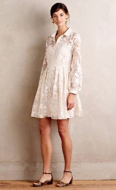 Dresses anthropologie dresses white dress clarence shirtdress wedding