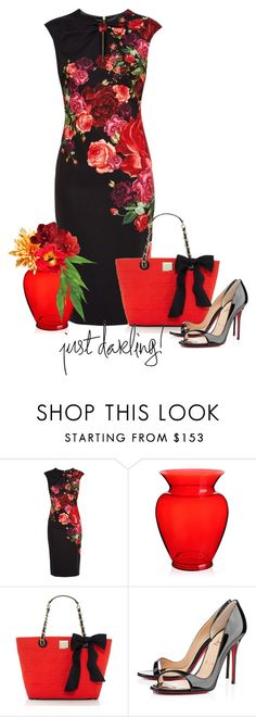 """""""Ted Baker roses dress"""" by rvazquez ❤ liked on Polyvore featuring Ted Baker, Kartell, Kate Spade and Christian Louboutin"""