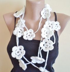 Hand made scarf with flowers Spring new fashion by BloomedFlower - should be easy enough to make it myself :)