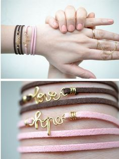 "DIY wire bracelet PERF. I like the ""hope"" and ""love"" but I would like to make one that says ""mom"""