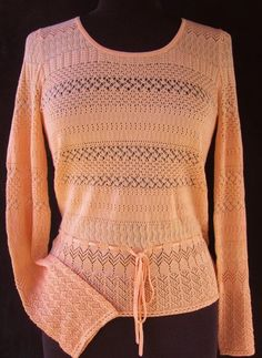 ANN TAYLOR Sweater XS Peach NEW Lacy Silk Blend Knit Mothers Day #AnnTaylor #ScoopNeck #AllOccasions