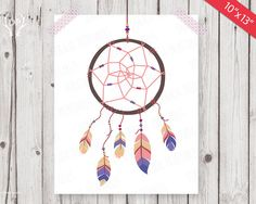 Dream catcher, printable art work, nursery wall art, kids room decoration, hanging feathers tribal instant download