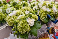 White and Green Hydrangea Bouquet, with a pop of blue ribbon  #wedding #photography #flowers