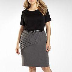 cf04d6c7c03af R Richards Belted Dress with Pleat Skirt-Plus - jcpenney Resort Dresses