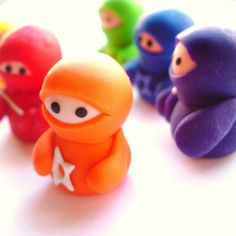 Set of 6 Rainbow Ninja Companions by Lilley on Etsy, £25.00
