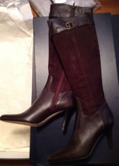 $398 New Brooks Brothers Women Chocolate BROWN Leather/Suede Knee Boots 5.5  #BrooksBrothers #