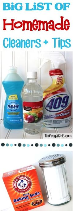 BIG List of DIY Homemade Cleaners and Tips ~ at TheFrugalGirls.com - you'll love this huge collection of cleaner recipes and natural cleaning tricks to keep your home sparkling and clean!