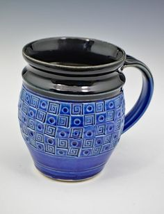 Black and Blue Geometric Mug 14 oz