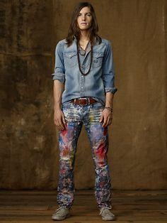 Slim-Fit Paint-Splatter Jean - Slim Jeans - RalphLauren.com