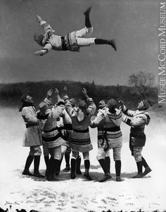The Bounce, Montreal Snowshoe Club, QC, composite, 1886 Wm. Notman & Son century Silver salts on glass - Gelatin dry plate process Canadian History, Canadian Art, Canadian People, Vintage Photographs, Vintage Images, Canadian Winter, The Calling, Celebrity Photographers, Of Montreal