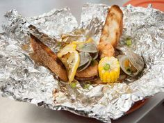 """Low Country Boil Packets (Summer Party) - Katie Lee, """"The Kitchen"""" on the Food Network."""