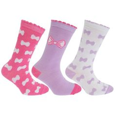 Childrens Girls Heart/Bow Print Socks With Scallop Trim (Pack Of 3) (UK 4-6 (EUR 37-39)) (Lilac)