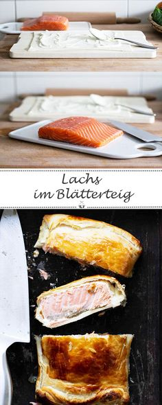 Lachs im Blätterteig – Weihnachtsmenü Hauptgang The main course of my Christmas menu is salmon puff pastry. The delicious salmon. Salmon Recipes, Fish Recipes, Vegan Recipes, Cooking Recipes, Salmon In Puff Pastry, Cream Cheese Pastry, Colorful Vegetables, Baked Fish, Cheeseburgers