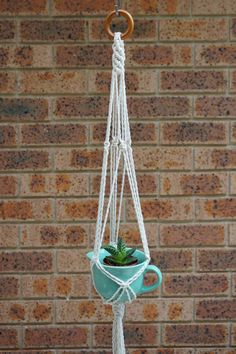 A macrame plant hanger is a great way of bringing a little greenery into your home. Modern and versatile. Simply insert your own plant into the cradle of the hanger and hang the wooden ring from a rigging point in your home. This plant hanger features cream coloured cord, hung from a chestnut coloured wood ring. The natural earthy tones allow you to use any coloured pot. The brighter the better!  Made from 100% cotton cord and wood ring. Measures 85cm in length. Note; Pot in image is 8cm…