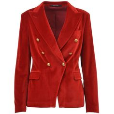 Velvet Tuxedo (28.625 RUB) ❤ liked on Polyvore featuring outerwear, jackets, blazers, red, red blazers, tux jacket, red velvet tuxedo, red tuxedo and red double breasted blazer