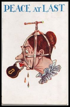 This is an unfortunate example of a 1920s anti-suffrage poster. Some men did not think that women were intelligent enough to vote and therefore should not have a voice. They believe that they should only talk about household things and not important political issues.
