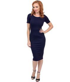1960s Style Navy Short Sleeve Stretch Mod Wiggle Dress