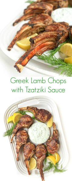 Greek Lamb Chop with Tzatzihi Sauce - A fast 15 minute lunch or dinner meal that your family will fall in love with!