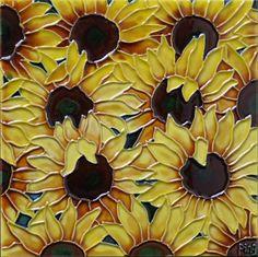 Multi Sunflowers Tile Wall Decor