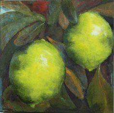 Lemon tree still life painting abstract acrylic green