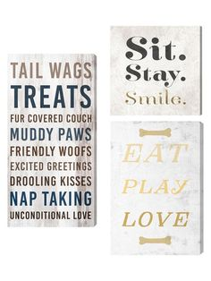 Dog Life and Sit Stay Smile (Set of 3) (Canvas) by Oliver Gal at Gilt