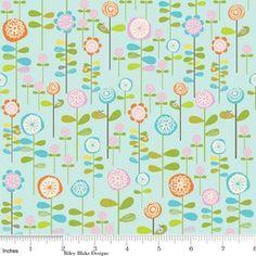 Riley Blake Designs Happier by Denna Rutter. 100% cotton pattern C5502 Blue - Happier - Garden. $8.50, via Etsy.