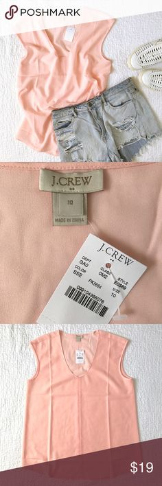 NWT J Crew cap-sleeve shirttail blouse Brand new with tags! A beautiful, light pink, cap sleeve blouse from J Crew. Flattering scoop neck and slightly rounded hem. The color is a warm blush. Semi-sheer and lightweight. Wear it year round, alone or layered. Dress it up or down. A great basic for any closet. Size 10; see photos for measurements. J. Crew Tops