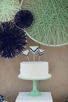 Mint and Navy Geometric Chevron Shower - Wedding Shower - Baby Shower Navy Baby Showers, Mint Baby Shower, Boho Baby Shower, Baby Shower Cakes, Baby Boy Shower, Shower Party, Baby Shower Parties, Wedding String Art, Baby Shower Decorations