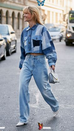 7 Street Style Trends We've Seen All Over London Fashion Week The Best London Fashion Week 2019 Street Style Trends: Jeanette Madsen wears patchwork denim cropped jacket with oversized jeans<br> We've noticed seven major street style trends at London Fashion Week 2019. From new It colors to boot styles, see them all here. Street Style Trends, Street Style Outfits, Outfits Casual, Street Style Looks, Winter Outfits, Korean Street Fashion, Cool Street Fashion, Fashion Weeks, Lakme Fashion Week