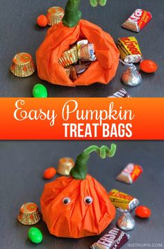 If you're looking for Halloween goody bags for school or for a party, these darling pumpkin treat bags are super easy, cheap and fun to make! You just need tissue paper, pipe cleaners and floral tape-- Plus the candy and party favors of your choice to stuff inside.