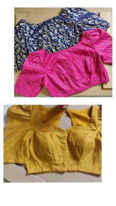 Kalamkari Blouse Designs, Saree Jacket Designs, Blouse Designs High Neck, Cotton Saree Blouse Designs, Simple Blouse Designs, Stylish Blouse Design, Diy Blouse, Sari Blouse, Sari Dress