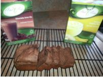 Preheat oven to 350 degrees Spray a mini-loaf pan with olive oil non-stick spray In a bowl, mix the following: 1 packet Chocolate Drink Mix 1 packet Banana Pudding Mix 2 egg whites (may also work w…