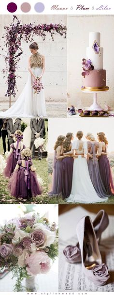 Modern Mauve Plum and Lilac Wedding Color Combo + grå og eucalyptus