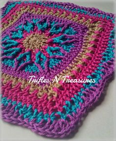 """Starburst Square, free 12"""" square crochet pattern with photo tutorial on Trifles N Treasures"""