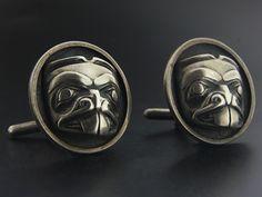 Bill Reid Silver Beaver Cufflinks with Oxidization Bill Reid, Haida Art, Sterling Silver Cufflinks, Native Art, Indian Jewelry, Jewelery, Vintage Jewelry, Museum, Pacific Northwest