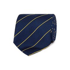The perfect finish to your smart attire, this luxury silk tie from Osborne comes in navy with fine gold stripes.