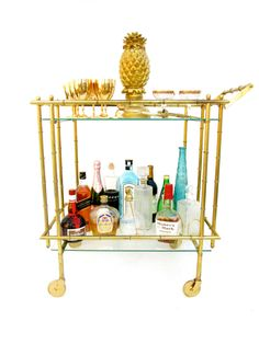 Vintage Faux Bamboo Brass Bar Cart    Hollywood Regency Two-Tier Cocktail Trolley    Chinoiserie Chic Rolling Server    Made in Italy by ELECTRICmarigold on Etsy