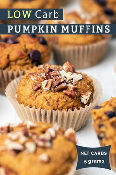 Healthy, low carb and sugar free pumpkin muffins with a protein boost!