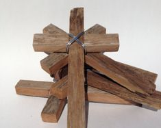 DC032A Large Yellow Wood Cross with Rustic Rose and by DiaMorDecor